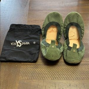 YOSI SAMRA green snakeskin ballet flats 9